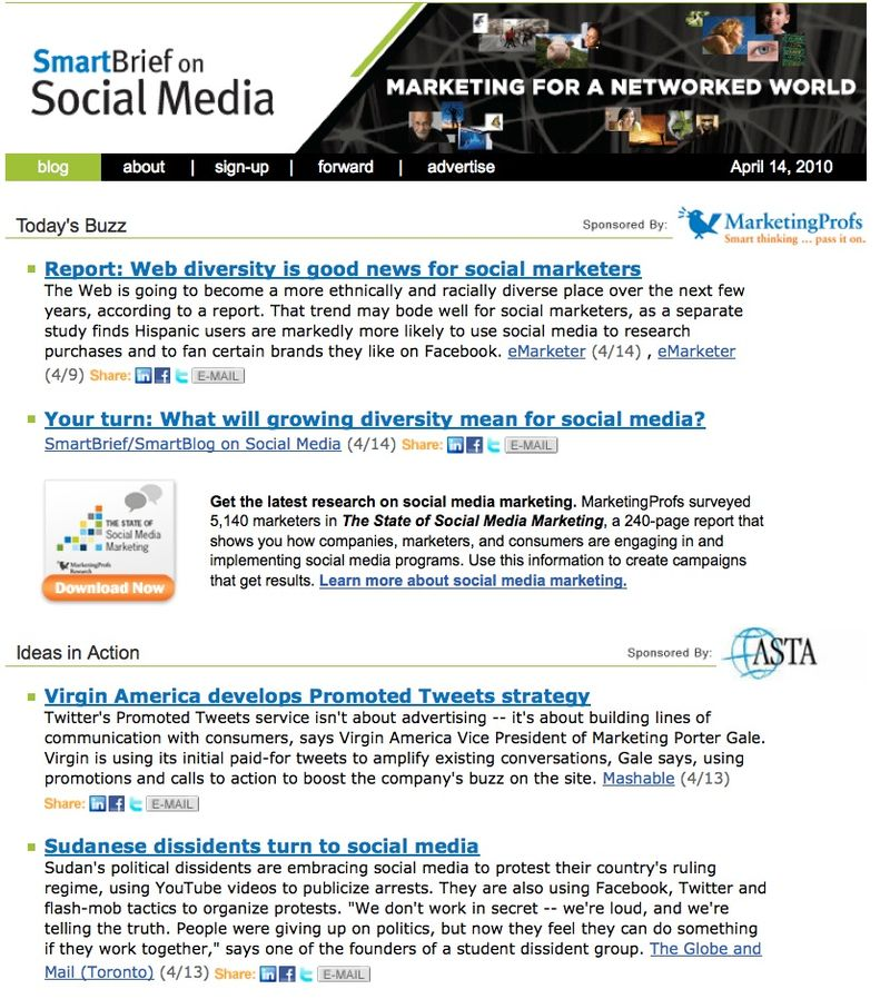 SmartBrief on Social Media screen