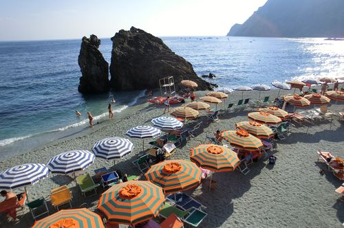 Beach at Monterosso great pic with umbrellas
